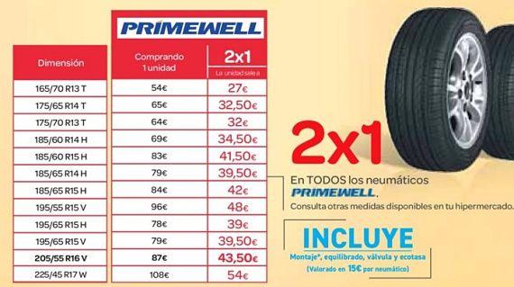 Oferta neumáticos 2X1 Primevell en Carrefour