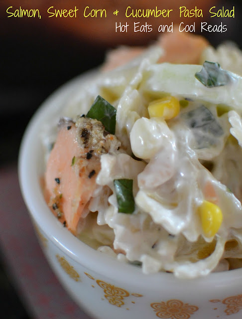 Full of fresh summer flavors and delicious bites of Morey's Salmon! Salmon, Sweet Corn and Cucumber Pasta Salad Recipe from Hot Eats and Cool Reads