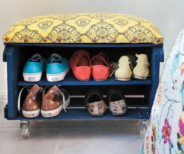 reutilizar caixotes de madeira sapateira rodizio banco