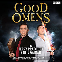 Good Omens: The Nice and Accurate Prophecies of Agnes Nutter, Witch audiobook cover. Emerging from the smoke on a black background are a devilish Peter Serafinowicz dressed in black and clutching an old book and an angelic Mark Heap in white holding a flaming sword.