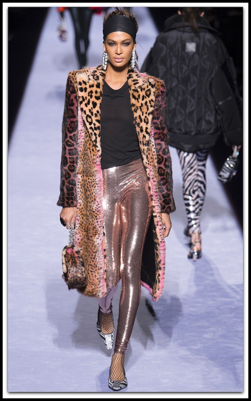 TOM FORD Strong-Shoulder Jaguar & Cheetah Patch Rabbit-Fur Coat