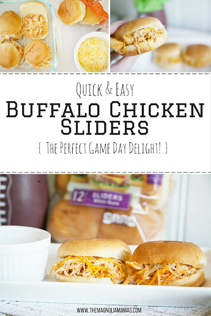 Quick and easy Buffalo Chicken Sliders. Baked to cheesy goodness, and the Pepperidge Farm Slider Buns help make it the perfect game day snack! #RespectTheBun #LittleBunsBigWin #BakedWithCare #sponsored