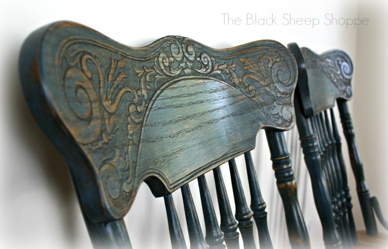 Detailed design on pressed back chairs.