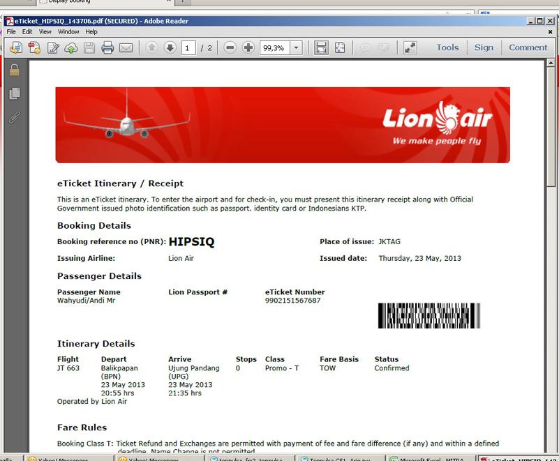Cara Cetak Atau Print Tiket Lion Air Web Umum Arsad Blog