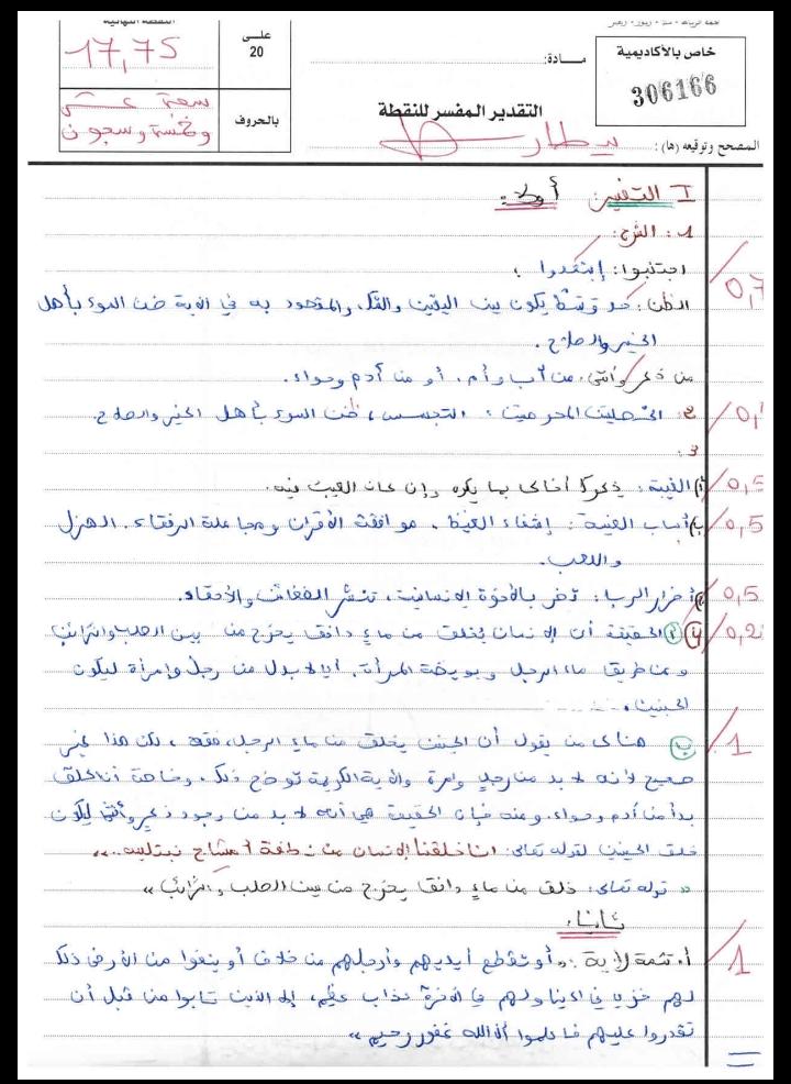 الإنجاز النموذجي (17.75/20)؛ الامتحان الوطني الموحد للباكالوريا، التفسير والحديث، مسلك العلوم الشرعية 2015