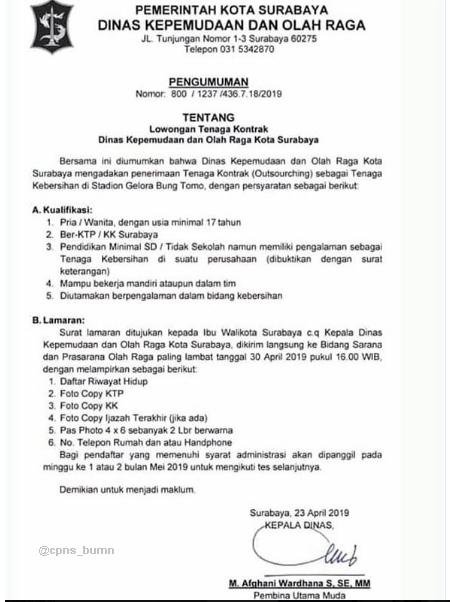 Lowongan Kerja Dinas Kepemudaan dan Olahraga Kota Surabaya Lulusan SD