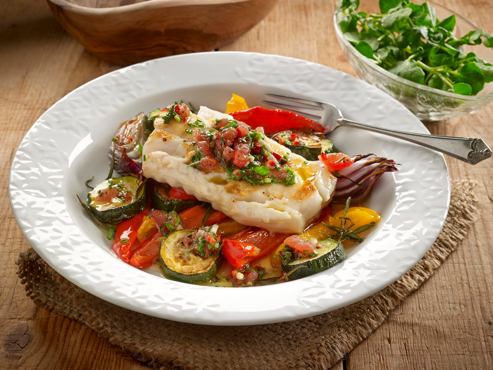Cod Fillets, Roasted Vegetables And Sauce Vierge...