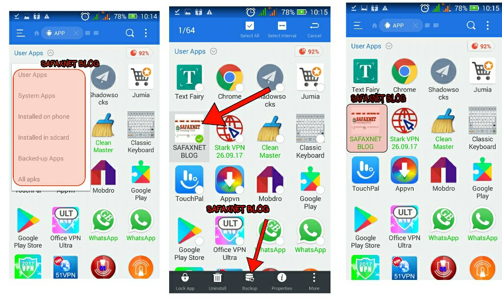 how to send apps on android