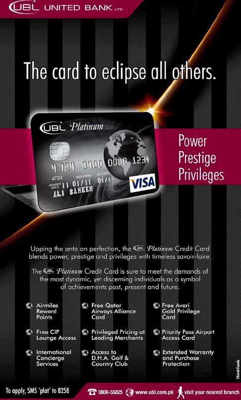 Advertising in Pakistan: UBL UNITED BANK LTD | Platinum Credit Card