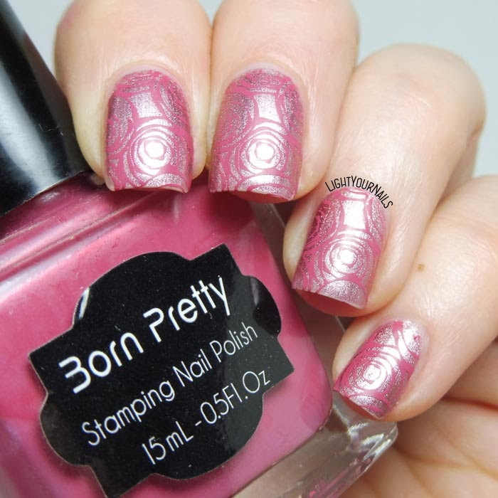 Manicure rose rosa pink roses stamping nail art #stamping #nailart #lightyournails