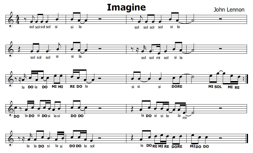 Molto Musica e spartiti gratis per flauto dolce: Imagine John Lennon UW14