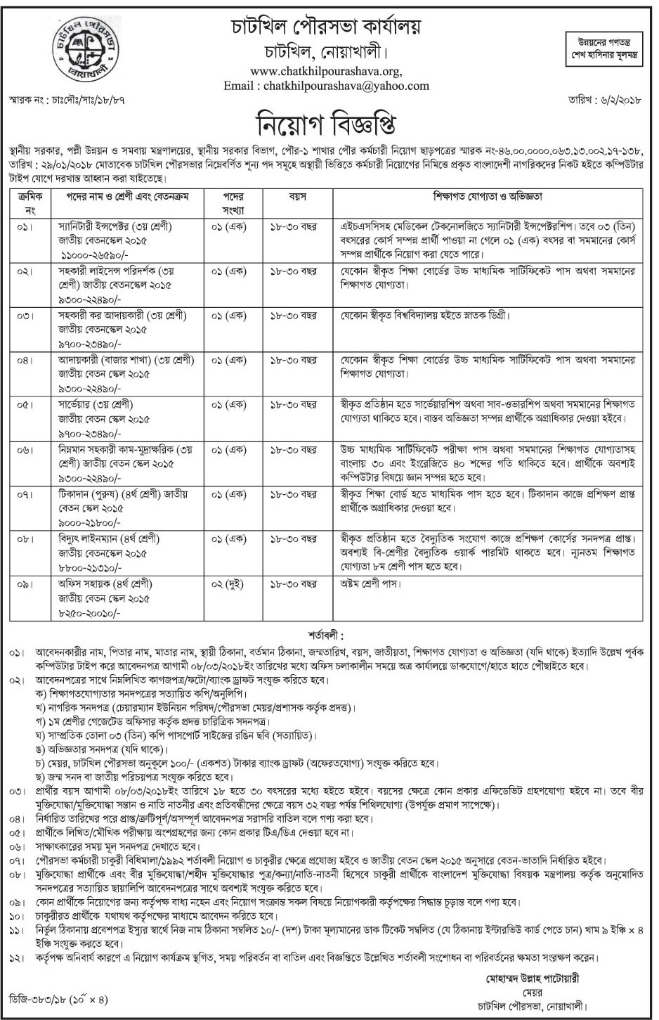 Chatkhil Pourashava Job Apply Instruction, Educational Qualification, Salary, Application Fee, Age and Other Information