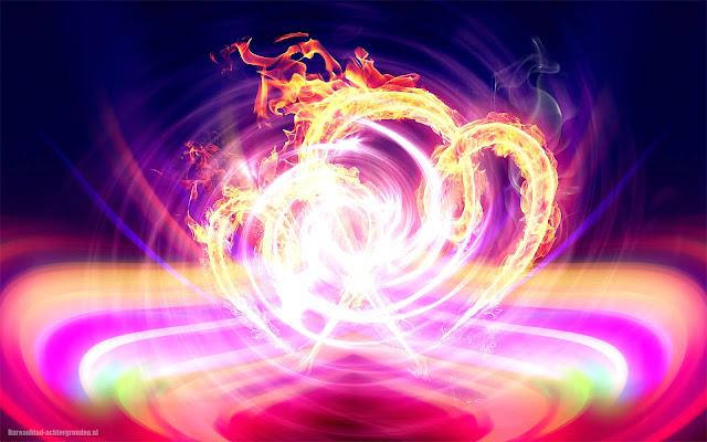 Kleurrijke abstracte wallpaper met liefdes hartjes van vuur