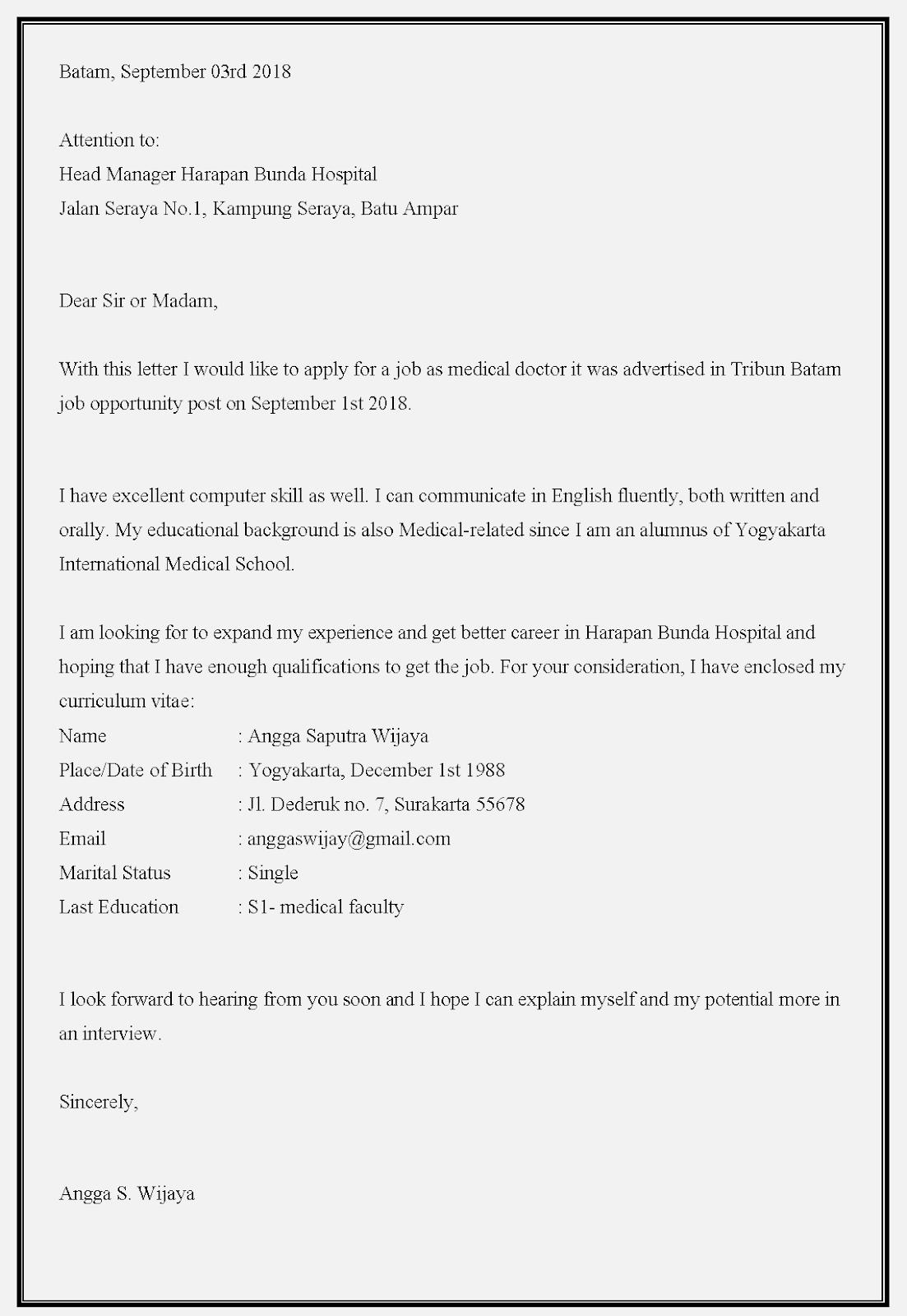 Contoh surat lamaran kerja dokter umum untuk melamar pekerjaan sebagai dokter di rumah sakit  harapan bunda