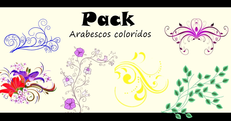 pack arabescos coloridos png