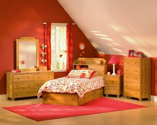 dormitorio para chica color naranja