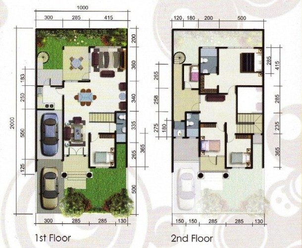 Denah Rumah Minimalis 8x15 Type 70