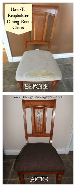 how to reupholster a dining room chair with piping | Home Improvement Ideas - A Mom's Take