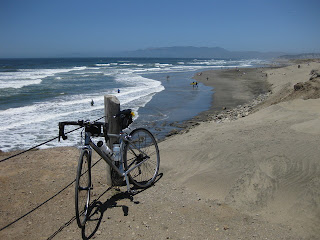 pep's bicycle overlooking a Pacific Ocean beach along the Great Highway, San Francisco, CA