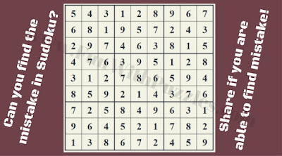 Can you quickly find the mistake in this Sudoku puzzle?