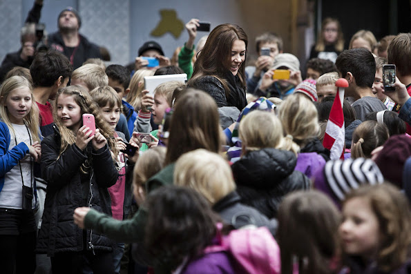 Danish Crown Princess Mary attends aid training at Randersgade Skole