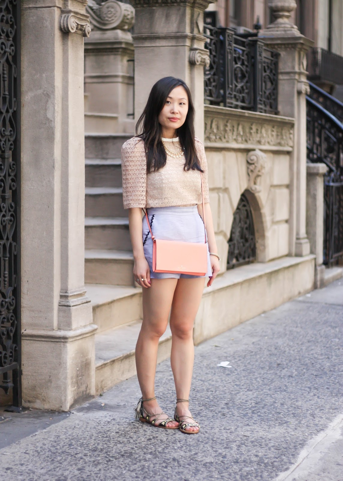 Feminine Lace Top and High-Waist Summer Shorts