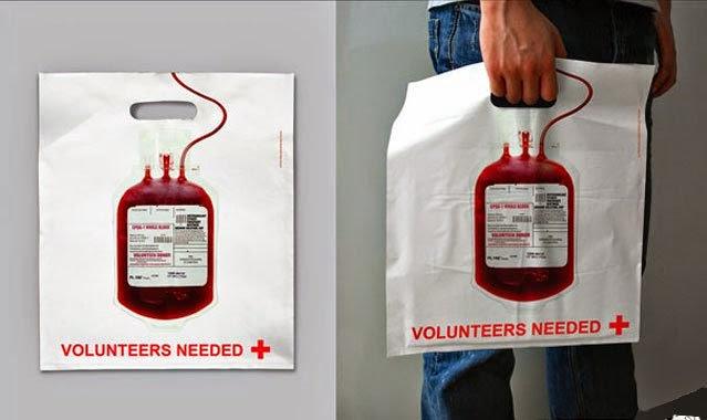 Bagvertising creativo, Donación de sangre