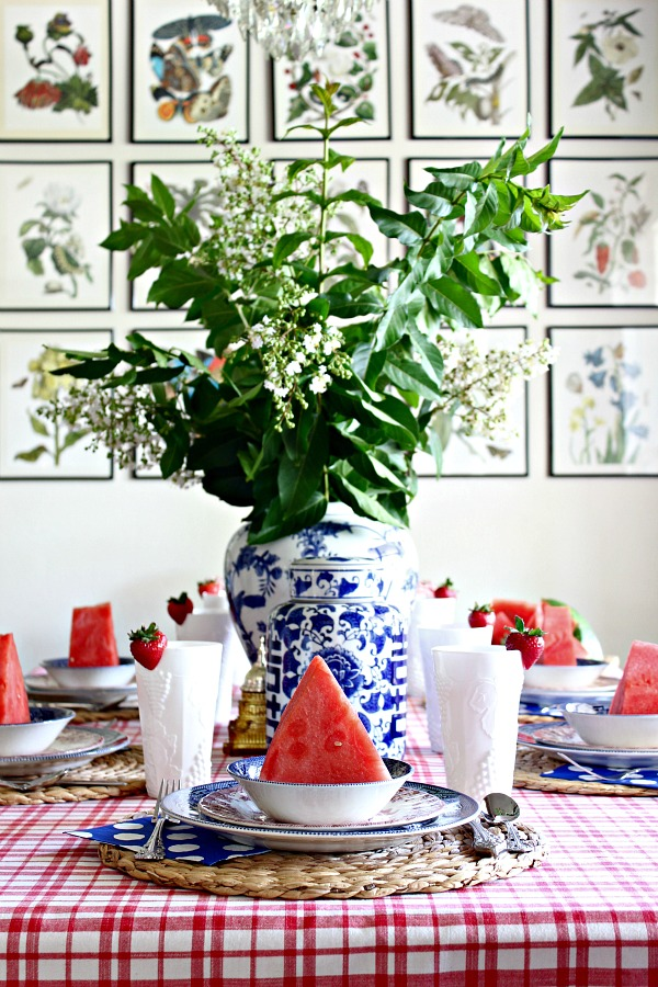 red white and blue table, fourth of july, patriotic tablescape, blue and white