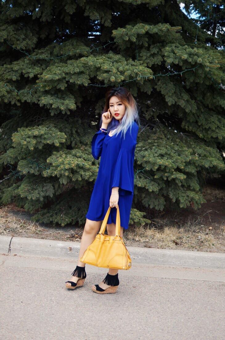 Bell Sleeve Dress and Fringe Sandals2