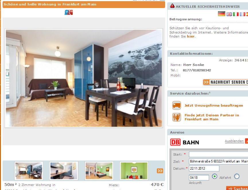 2 Zimmer WHG 50 m  Gegen Wohnungsbetrug against rental