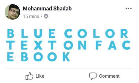 how to write blue color text in facebook status