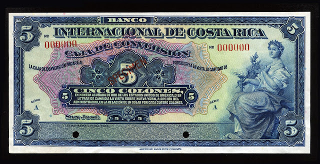 Currency of Costa Rica 5 Colones banknote