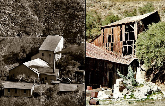 Santa Ana Tin Mine in the early 1900's and what remained in the mid 1970's.