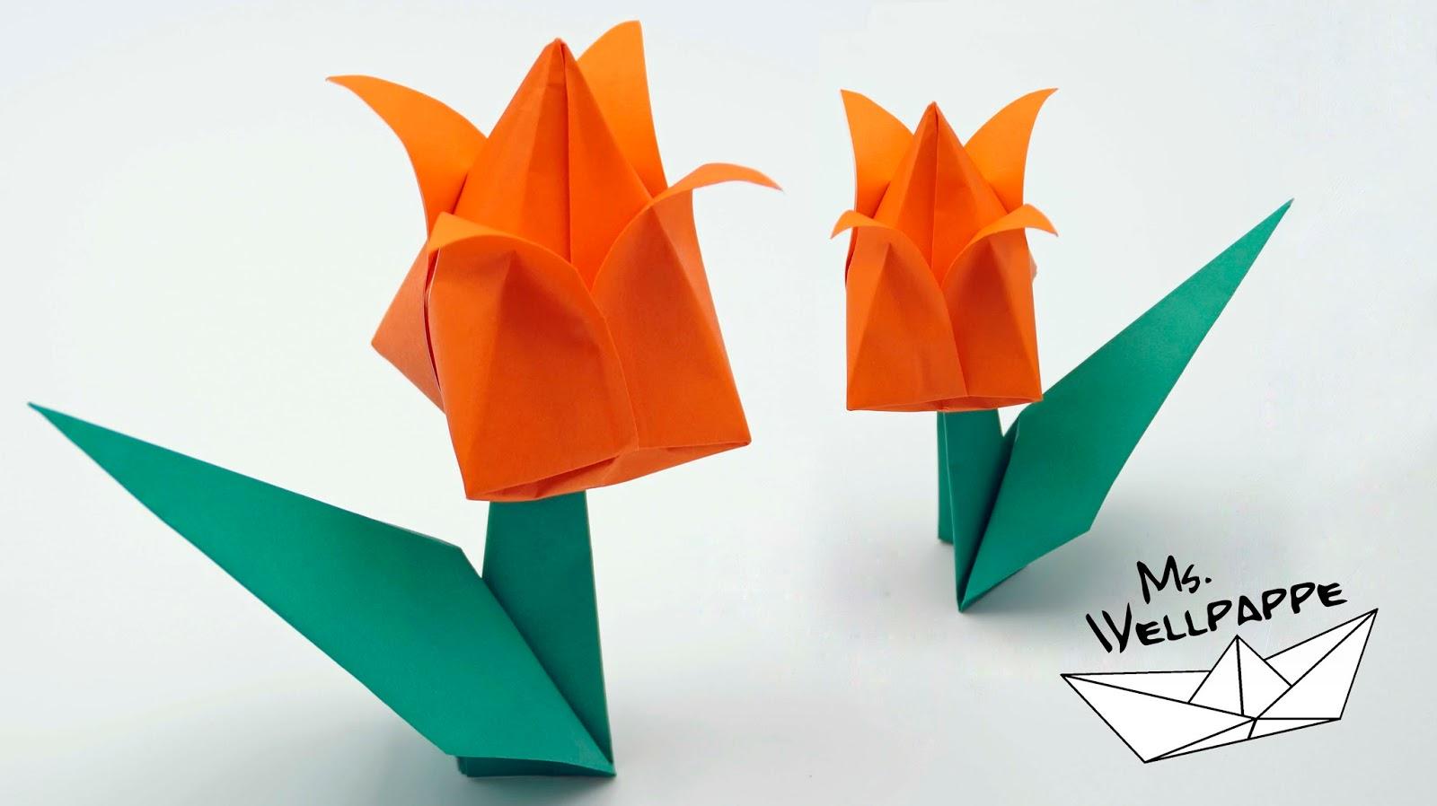 Basteln Und Mehr Origami Tulpe Falten Blumen Basteln Mit Papier