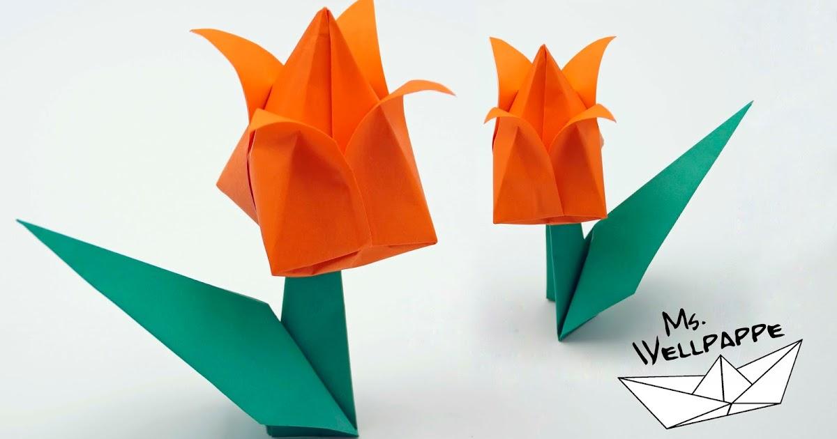 basteln und mehr origami tulpe falten blumen basteln mit papier. Black Bedroom Furniture Sets. Home Design Ideas
