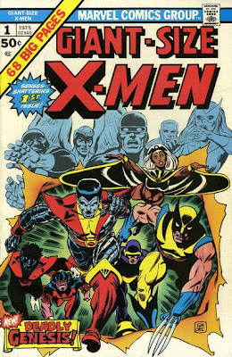 Giant-Size X-Men #1, the new X-Men make their debut. Wolverine, Storm, Colossus and Nightcrawler burst through the cover as the original X-Men look on in shock