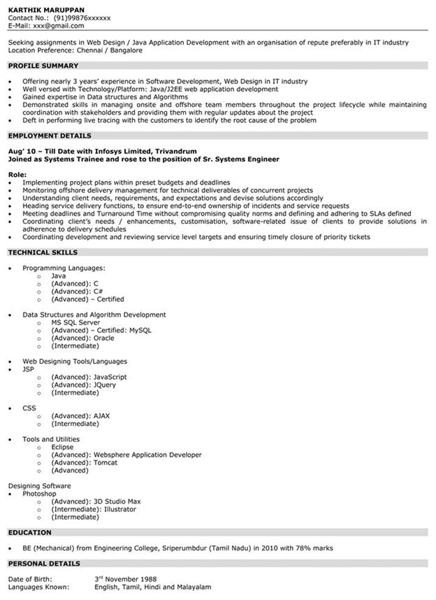 Impressive Resume Format Freshers Experienced Cv Sample