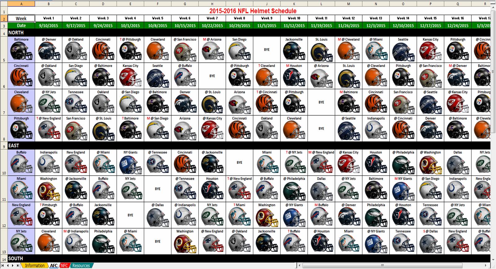 Excel Spreadsheets Help: 2015 NFL Helmet Schedule Spreadsheet