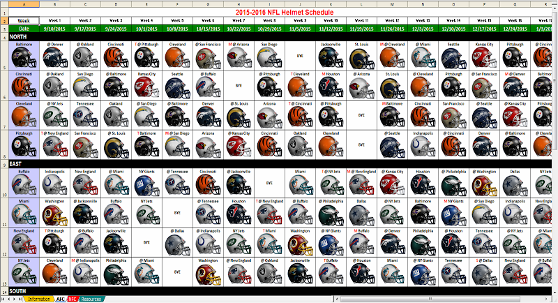 nfl schedule in excel