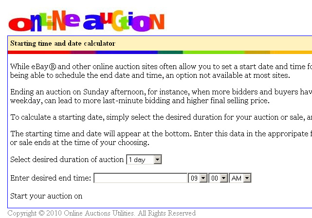 Ebay Auction Start- End Date Calculator | Zuraidin's