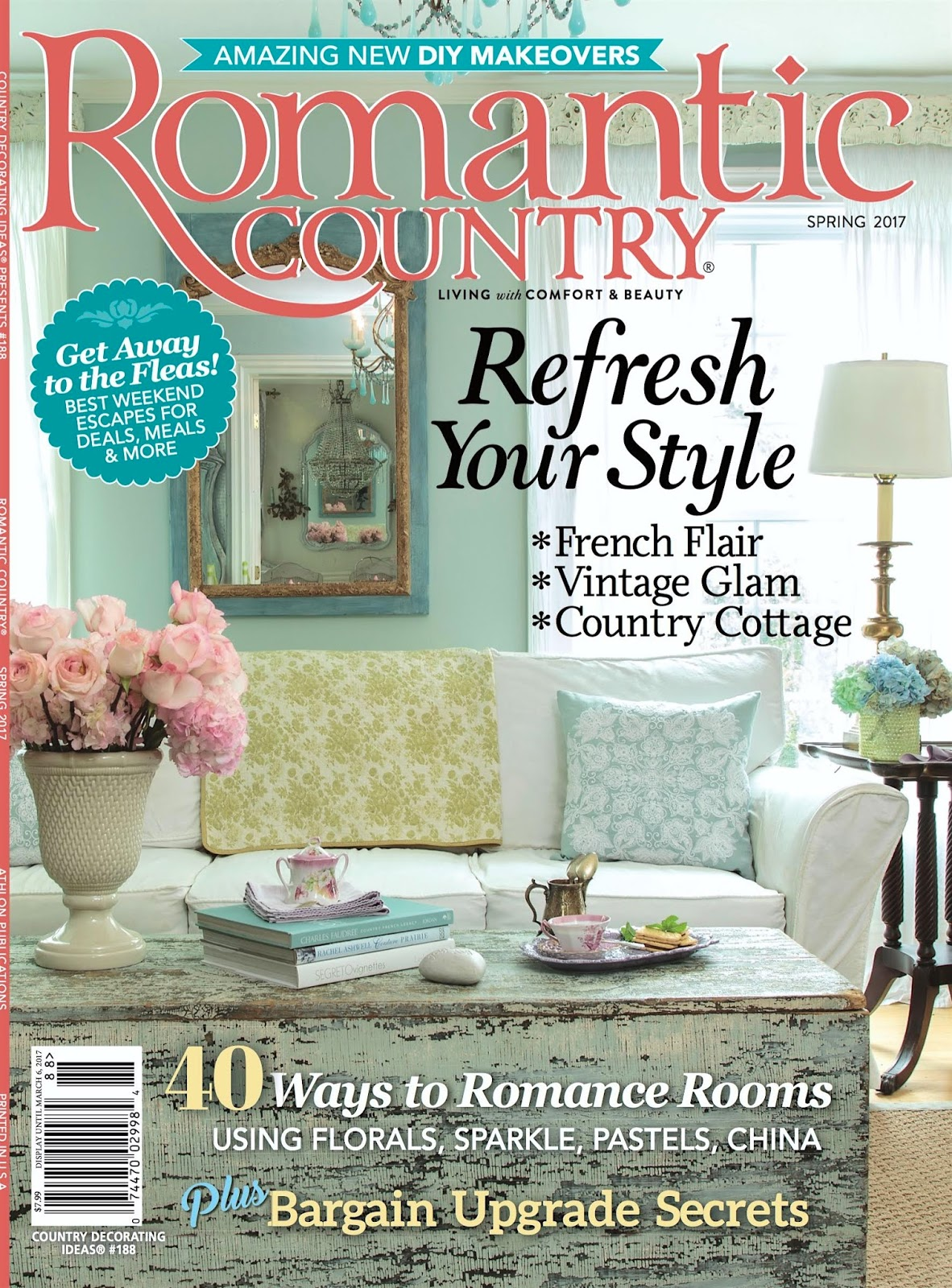 Maison decor my home makes the cover of romantic country for Magazine living room ideas