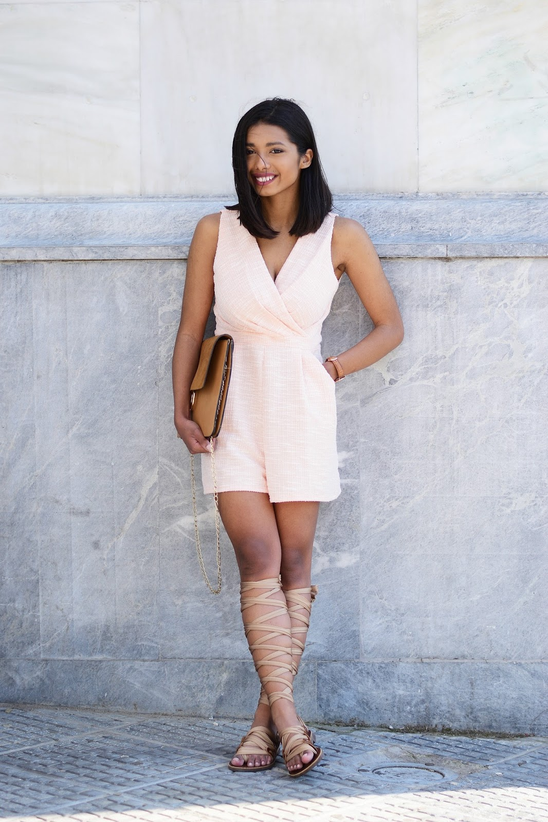 Greek gladiator sandals blush playsuit outfit inspiration