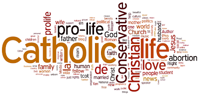 Largest word is Catholic, then Christian, then Conservative, then pro life