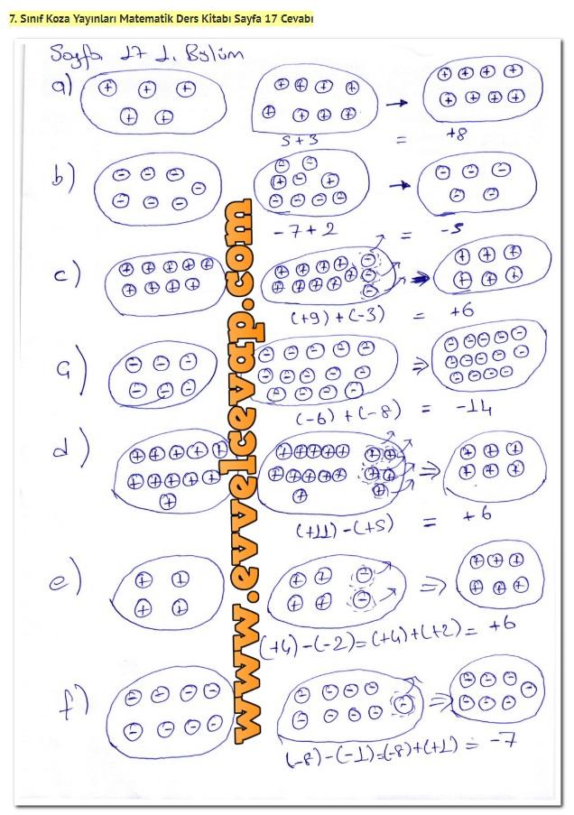 7. Sınıf Matematik Ders Kitabı Cevapları Koza Yayınları Sayfa 17-1