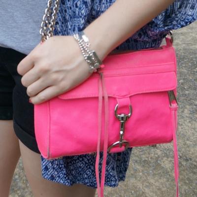 Rebecca Minkoff neon pink mini MAC | away from the blue