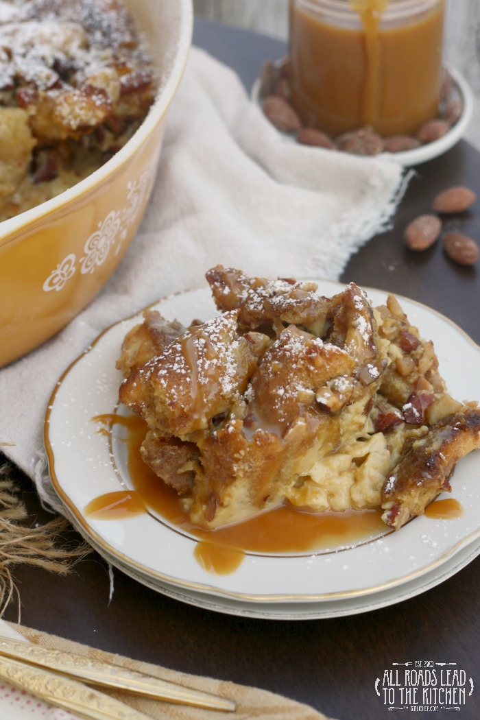 Almond Pretzel Bread Pudding | #ProgressiveEats