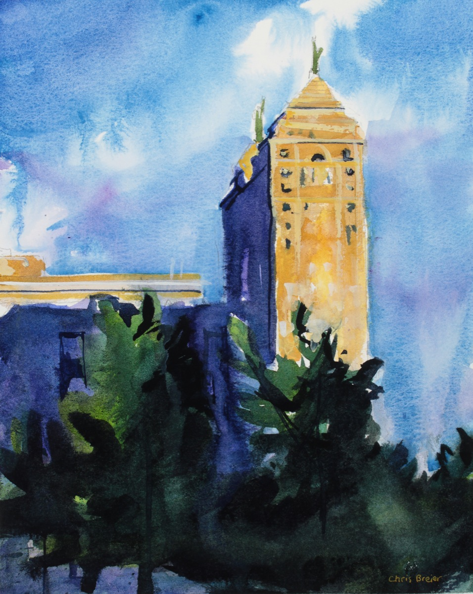 Watercolor painting of the liberty building in downtown buffalo
