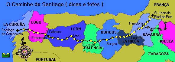 caminho de santiago de compostela mapa Cantinho da Cher: MAPA A CAMINHO DE SANTIAGO DE COMPOSTELA  caminho de santiago de compostela mapa