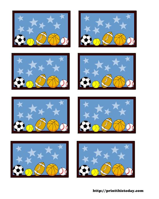Deportes: Etiquetas Editables en Fondo Celeste para Descargar Gratis.