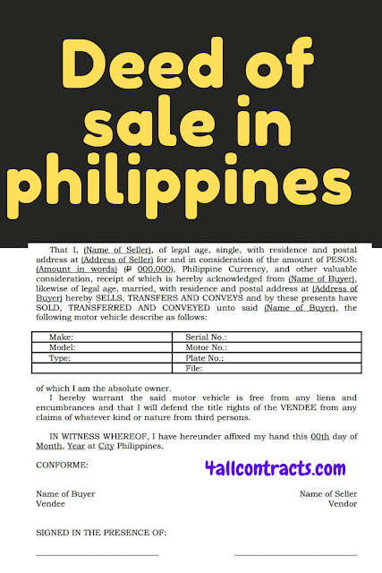 deed of sale car vehicle sample philippines doc, deed of sale motor vehicle philippines pdf,